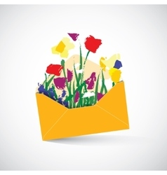 Spring letter flowers object shadow vector image vector image