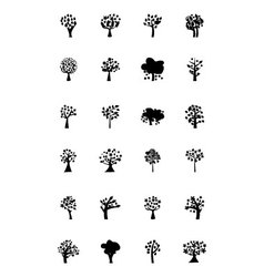 Trees icons 5 vector
