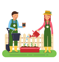 woman and man working in garden different tools vector image vector image