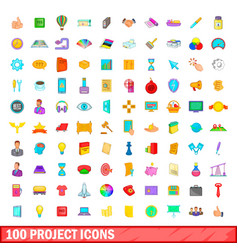 100 project icons set cartoon style vector