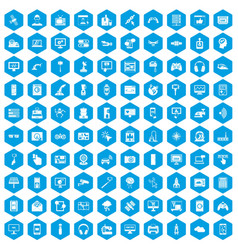 100 software icons set blue vector