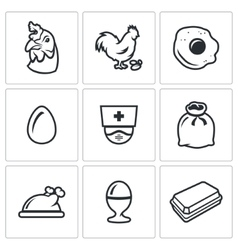 Set of chicken icons hen rooster vector