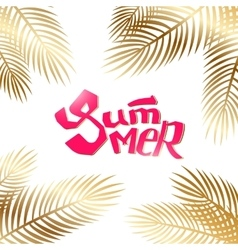 Summer lettering with gold palm vector