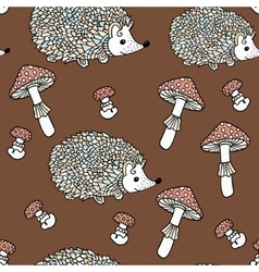 Seamless pattern with hedgehogs and mushrooms vector