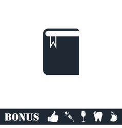 Book with bookmark icon flat vector