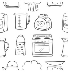hand draw kitchen object doodle style vector image