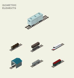 Isometric railway set of railroad carriage depot vector