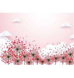 Paper art heart shape flowers with cloud vector