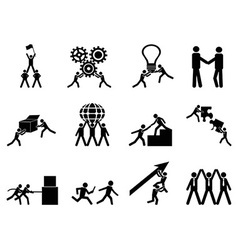 Teamwork icons set vector