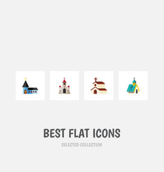 Flat icon building set of traditional religion vector