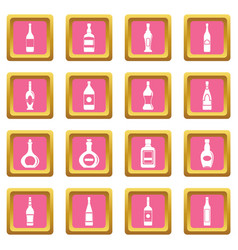 bottle forms icons pink vector image