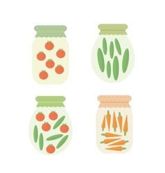 Preserve vegetables in jar vector