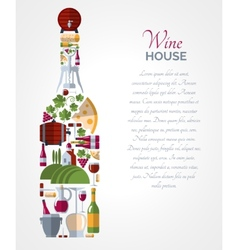 Wine bottle icons compositions poster vector