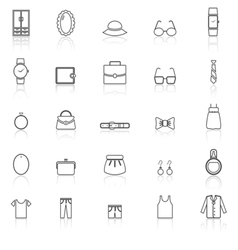 Dressing line icons with reflect on white vector