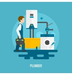 Flat plumber icon vector