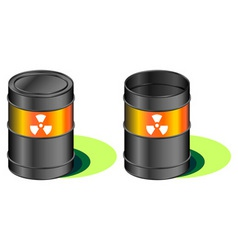 Radioactive waste barrels vector