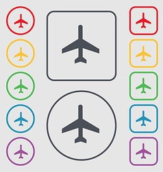 Airplane icon sign symbol on the round and square vector