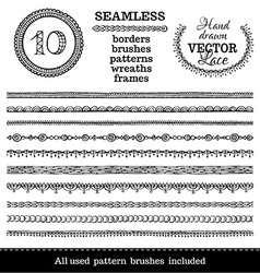 Set of seamless hand-drawn ethnic borders vector