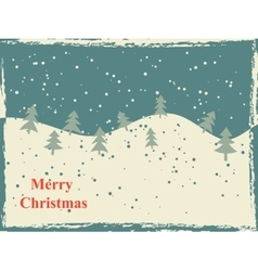 Retro christmas card with snow hills and trees vector