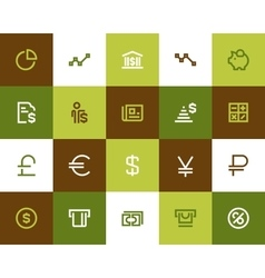 Bank and financial icons Flat style vector image
