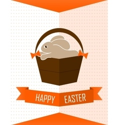 Easter card with rabbit flat vector