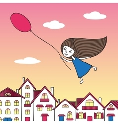 Girl flying over the city with a balloon in hand vector