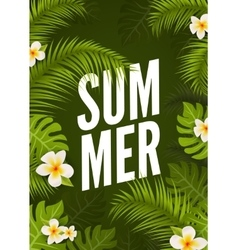 Summer tropic poster design floral nature jungle vector