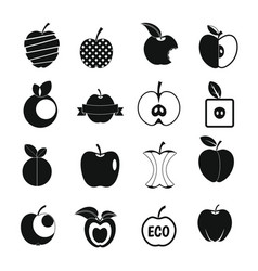 Apple icons set design logo simple style vector