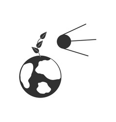 Black icon on white background satellite and earth vector