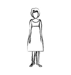 blurred sketch contour body faceless woman with vector image vector image
