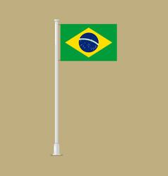 Brazil flag on pole vector