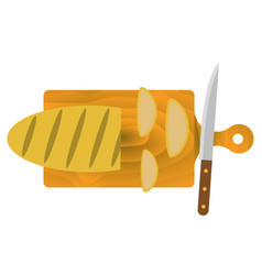 Bread on the cutting board vector