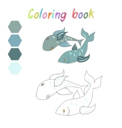 Coloring book fish kids layout for game vector