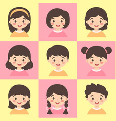 cute kids face avatar cartoon character set vector image