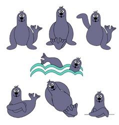 cute seal set vector image
