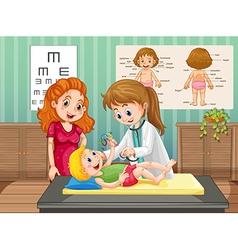 Doctor examining little boy in clinic vector
