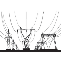 Electrical transmission towers in perspective vector
