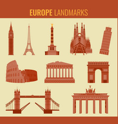 Europe landmarks flat icon set travel and tourism vector