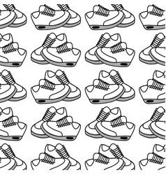 Figure comfortable sneakers fitness background vector