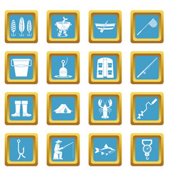 Fishing tools icons azure vector
