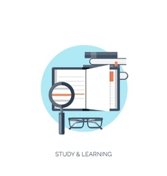 Flat Study and learning vector image vector image