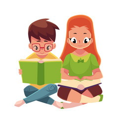 Kids boy in glasses red haired girl reading vector