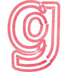 lowercase letter g drawing with Red Marker vector image