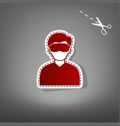 Man with sleeping mask sign red icon with vector