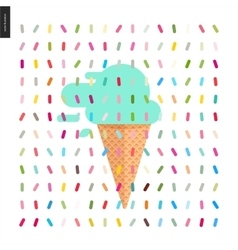 Mint Ice cream in a cone and pattern vector image