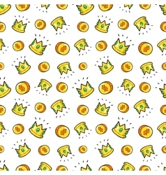 Money and Crowns Seamless Pattern vector image
