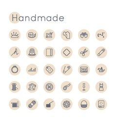 Round Handmade Icons vector image vector image