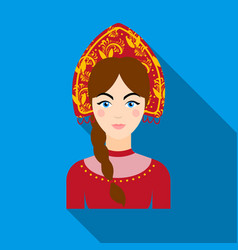 Russian woman in traditional suit icon in flat vector