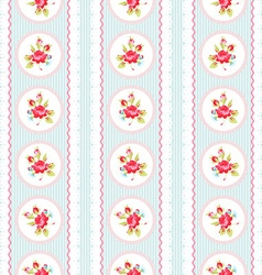 Seamless pattern with pink roses and lace vector image