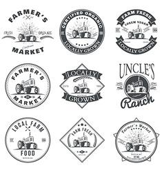 Set of retro farm fresh labels badges and design vector